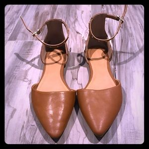 Brown flat with ankle strap